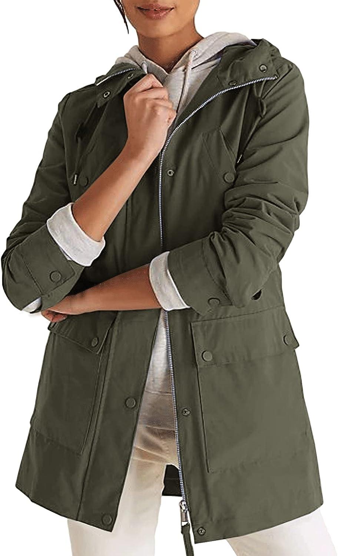 Maxwinee Chaqueta de entretiempo para mujer con capucha, parka utility, chaqueta corta de verano para otoño