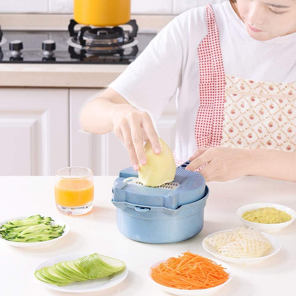 15 en 1 multi-función Easy Food Chopper, Cámara en mano Spiralizer vegetal máquina de cortar, calabacín espagueti Cafetera, vegetal Spiralizer, cortador de verduras portátil,Azul Pink