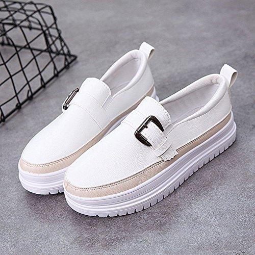 Giy Kvinna Snedsteg På Plattforms Loafers Spänne Rund Tå Klassisk Klänning Öre Loafer Tillfälliga Oxford Skor White-beige