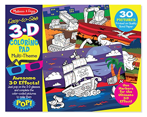Melissa & Doug Easy-to-See 3-D Kids' Coloring Pad – Dinosaurs, Knights, Space, and More, Multi Color