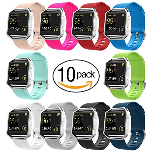 Price comparison product image UMTELE Soft Silicone Replacement Band for Fitbit Blaze Smart Fitness Watch, Large 10 Pack