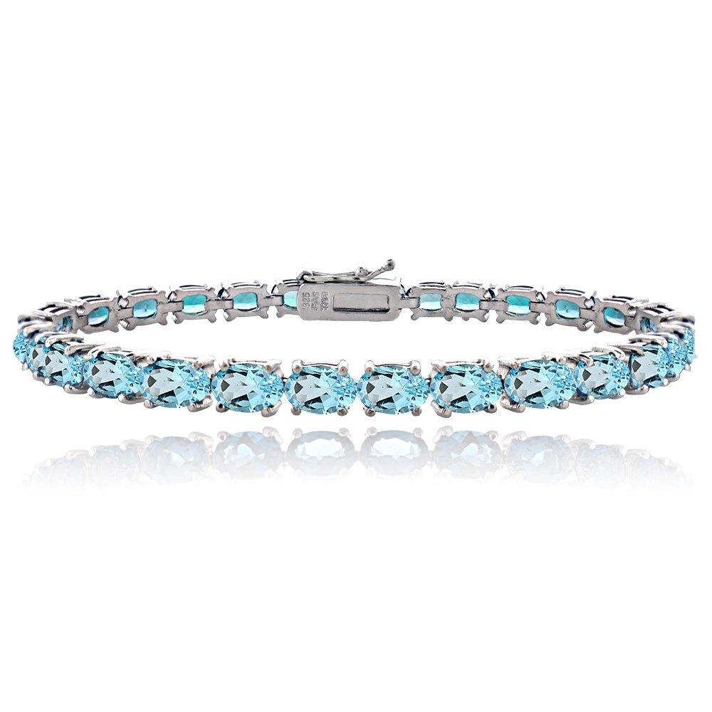 Sterling Silver Swiss Blue Topaz 6x4mm Oval Tennis Bracelet