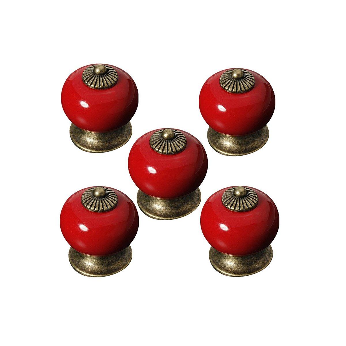 Oulii Lot de 5 poigné es de tiroir/porte/armoire rondes en cé ramiques Rouge