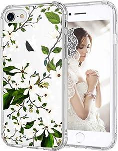 MOSNOVO Magnolia Floral Flower Garden Pattern Designed for iPhone SE 2020 Case/Designed for iPhone 8 Case/Designed for iPhone 7 Case - Clear