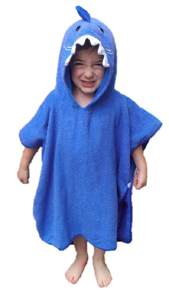 Softest Quick Dry Hooded Kids Shark Towel for Toddler - 5T - 100% Cotton Gently Snuggles Kids Dry. Get The Baby Shower Gift Moms Love by Hudz Kidz