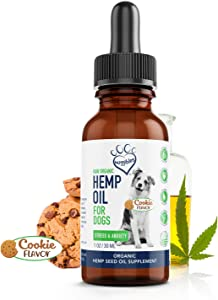 Huggibles Organic Hemp Oil for Dogs |Omega 3 for Dogs, Calming Hemp Oil for Dog with Omega-3 & 6 for Arthritis, Inflammation, Pain & Joint Support | 1000mg Cookie Flavor Liquid Drops Pet Supplement