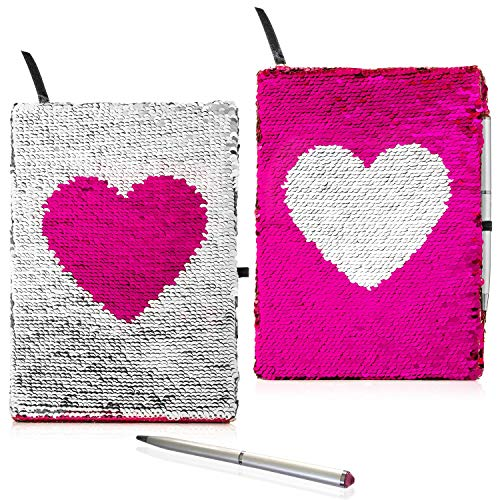 Flip Sequin Journal for Girls with Diamond Pen | Reversible Silver and Pink Sequin Heart | Perfect Girls Diary