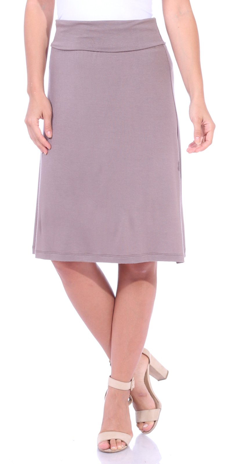 Popana Women's Casual Stretch Midi Knee Length Short Summer Skirt - Made in USA Medium Toffee