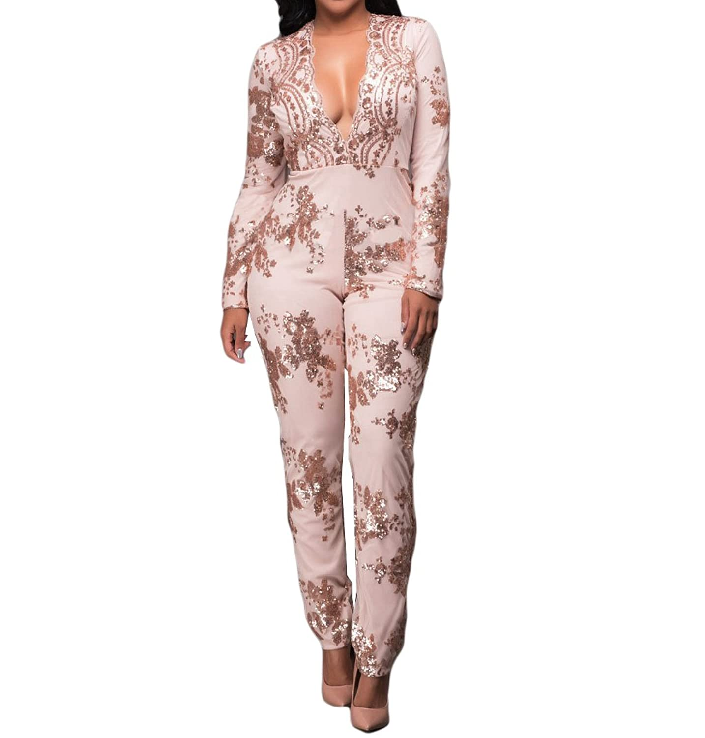 Womens Sexy V Neck Sequin Splice Long Sleeve Slim Party Clubwear Jumpsuit Romper