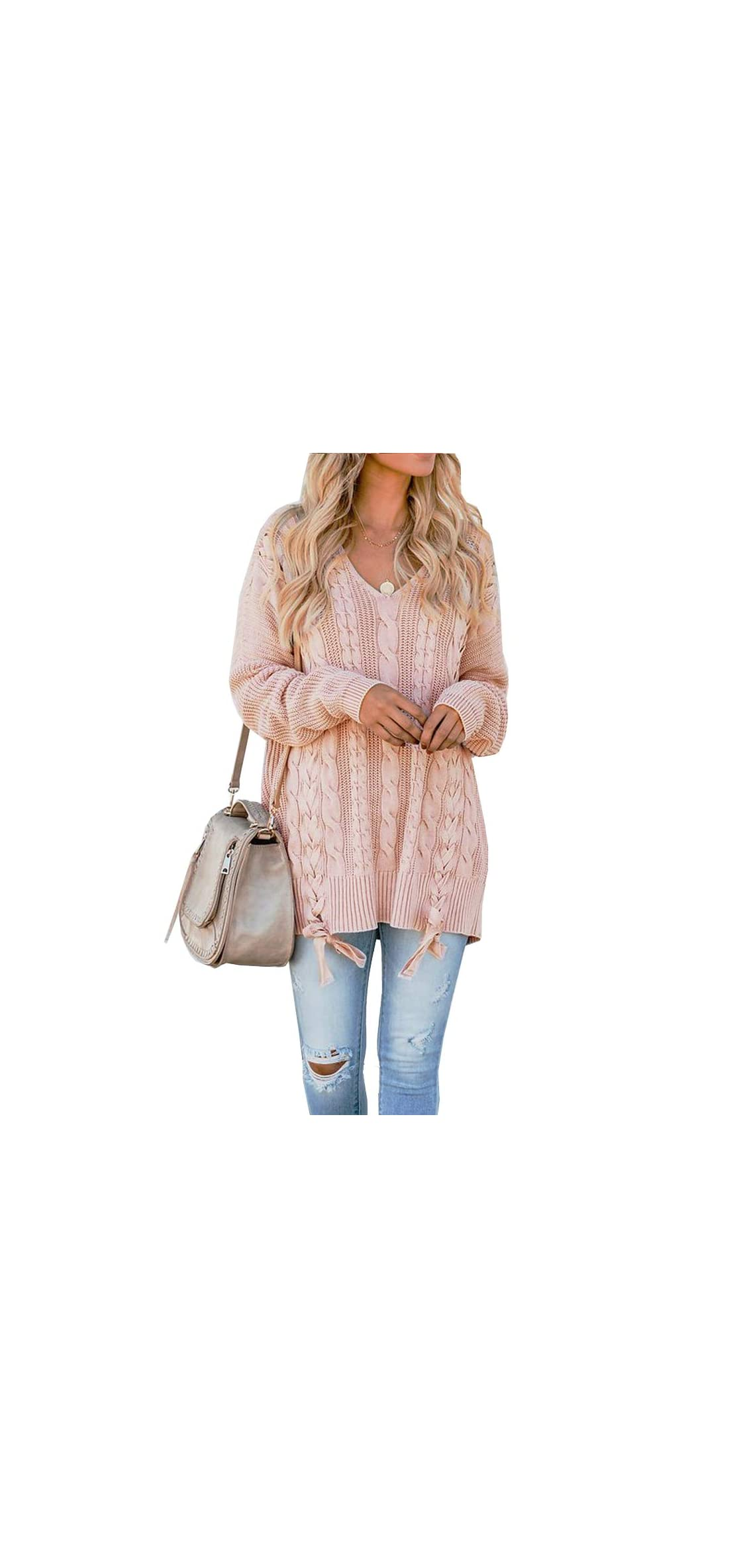 Womens Oversized Pullover Sweaters Cable Knit V Neck Up