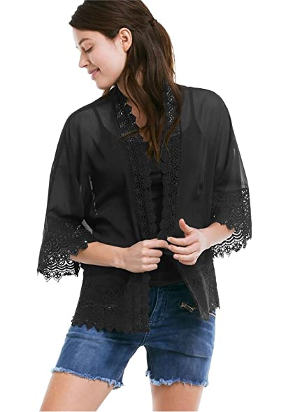 Ellos Women's Plus Size Sheer Lace Trim Kimono Cardigan at Amazon ...