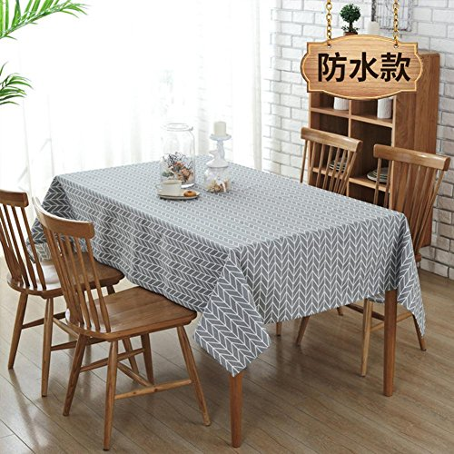 Modern Simple Point Line Tablecloths Waterproof Polyester and Cotton Table Cloth Rectangular Minimalist Cover Towel for Home Restaurant and Hotel, Grey, 7070cm