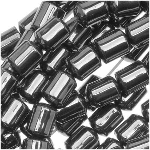 Steel Grey Hematite Sleek Capsule Tube Beads 4 x 4.5mm - 15 Inch Strand