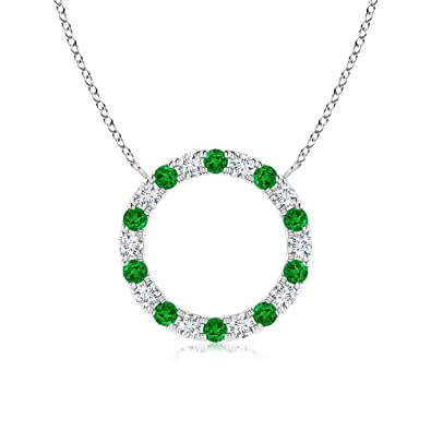 Angara Round Emerald Necklace for Women in Rose Gold wJF836TI9n