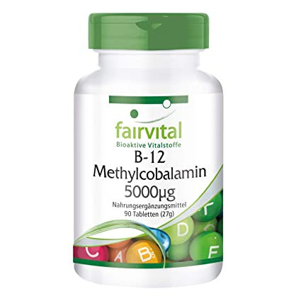 fairvital - 90 comprimidos de metilcobalamina B12 - Altamente concentrada (5.000 µg)