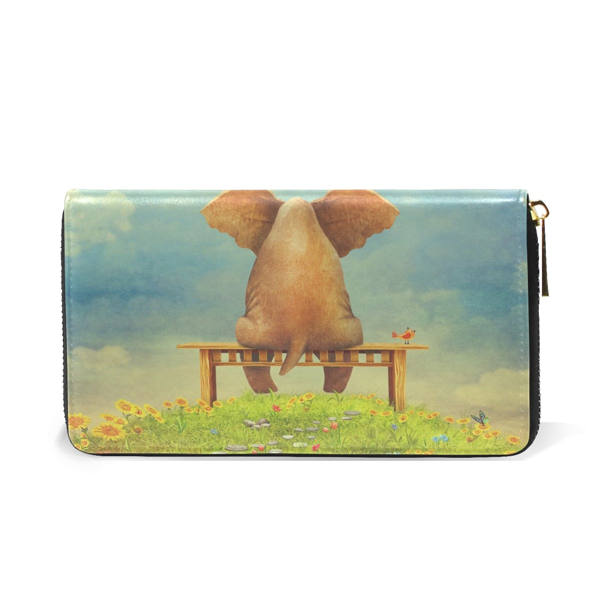 MAPOLO Sad Elephant Sitting On Bench The Glade Print Womens Clutch Purses Organizer And Handbags Zip Around Wallet