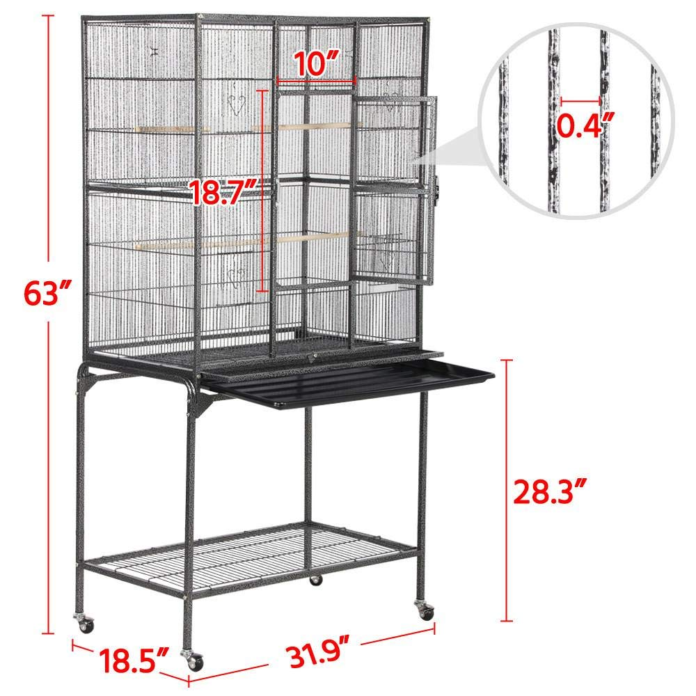 Yaheetech 63'' Wrought Iron Construction Rabbit Ferret Chinchilla Adult Rat Sugar Glider Guinea Pig Small Pet Animal Cage with Detachable Stand by Yaheetech (Image #2)