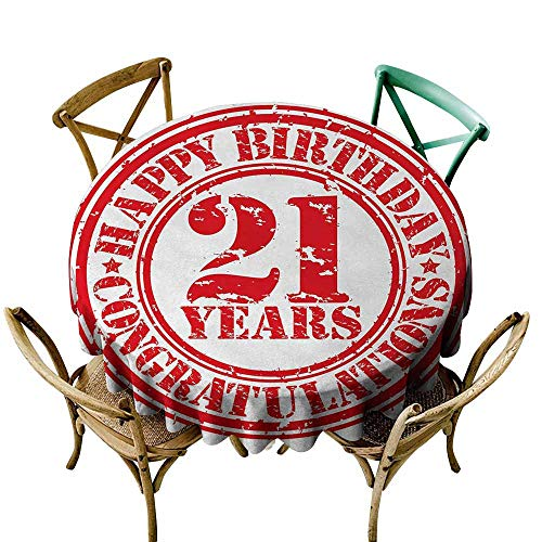 Zmlove 21st Birthday Polyester Tablecloth Logo Icon Vintage Style Happy Birthday Congratulations Party Image Print Party Red and White (Round - 39