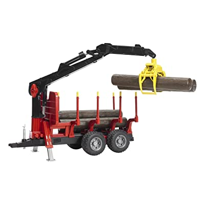 Bruder Forestry Trailer with Crane Grapple and 4 Logs: Toys & Games