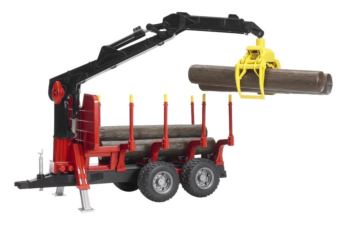 Bruder Forestry Trailer with Loading Crane, 4 Trunks and Grab 02252 BD1410
