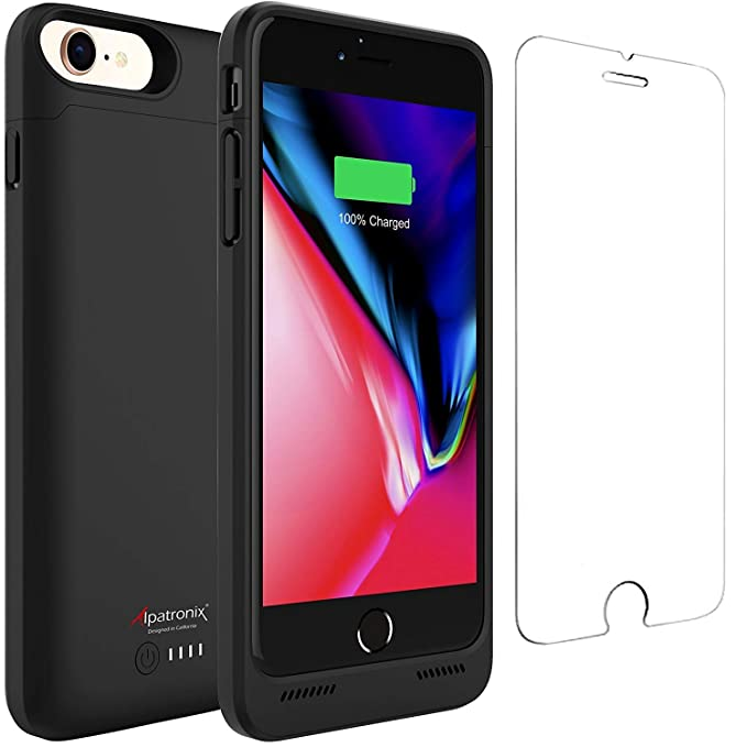 best sneakers b0dc9 79eda Alpatronix BX190 3200mAh Battery Case with Qi Wireless Charging Compatible  for iPhone 8 & 7 (4.7-inch) (Black)