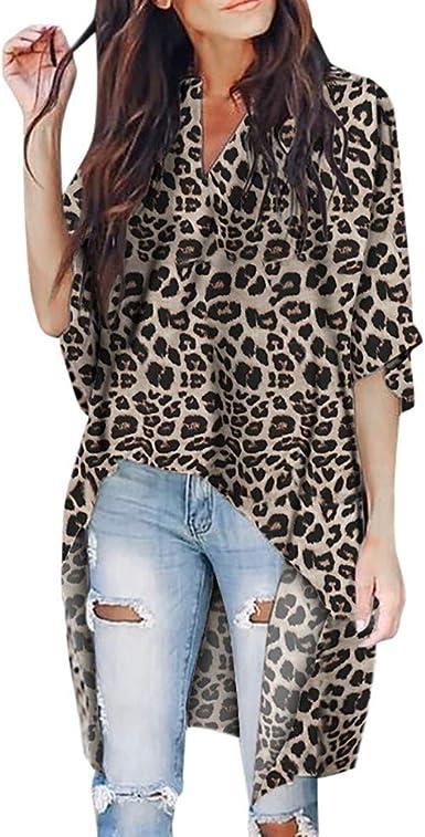 Camisa de Manga Larga con Cuello de Pico y Estampado de Leopardo de Las Mujeres Populares Camisa de Manga Larga: Amazon.es: Ropa y accesorios