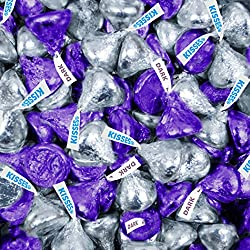 WH Candy Silver and Purple Hershey's Kisses 1lb (Free Cold Packaging)