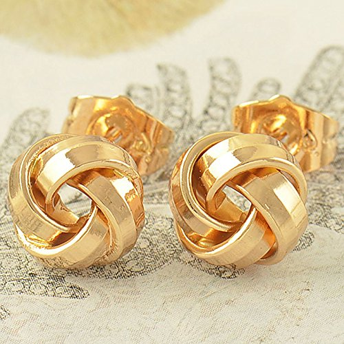 New Fashion Lovely 9K Solid Gold Filled Womens Love-Knot Stud Earrings ,High-quality 5-star