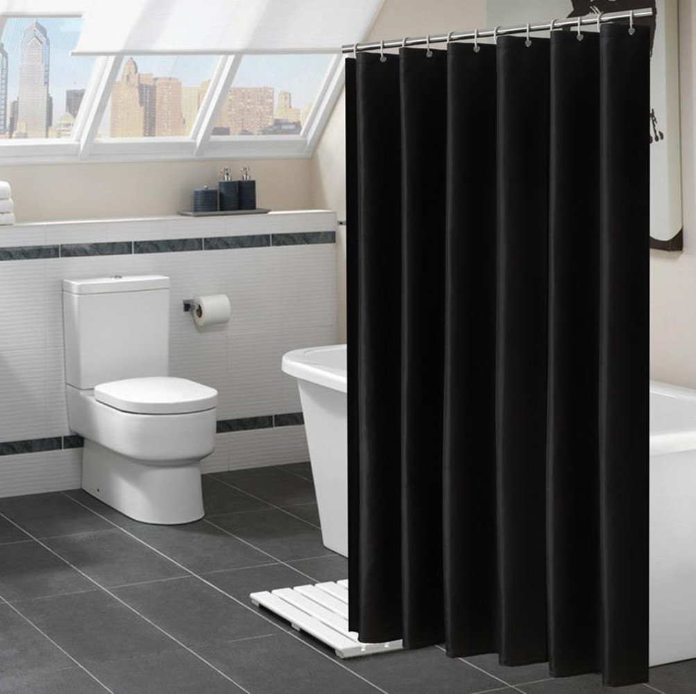 Fanjow® Mildew Resistant Fabric Shower Curtain Water Repellent Bathroom Shower Curtain Solid Color Polyester Bath Curtain With 12 Hanging Hooks, Hotel Quality Fashion Decorative Shower Curtain (72Wx72L, Black)
