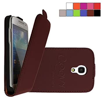 COOVY® Funda para Samsung Galaxy S4 MINI GT-i9190 GT-i9195 GT-i9192 cubierta delgado, con tapa, lámina protectora de pantalla | color marrón