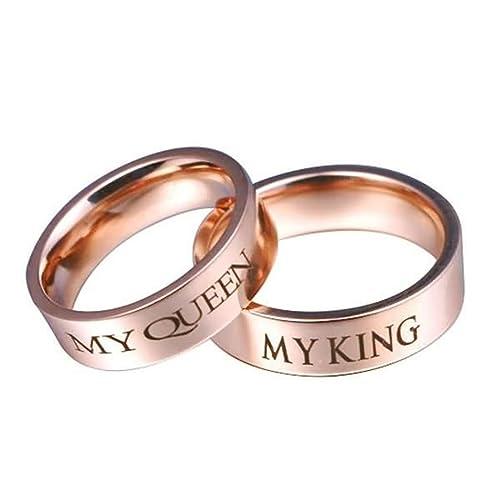 Epinki 6MM Anillo de Pareja, Acero Inoxidable My King y My Queen Oro Rosa Boda Anillo Talla 9,5-27(Precio de una Pieza): Amazon.es: Joyería