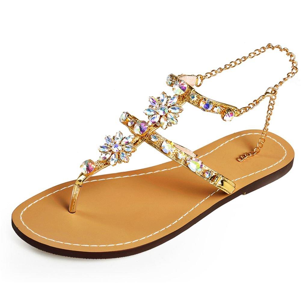 Sandaletten High Heels Plateau Bouml;hmisch Sommer Wedges Schuhe Keilabsatz Peeptoe Pumps Perlenketten Damen  33 EU|Braun
