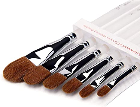 6 x Fine Red Pure Sable Weasel Hair Artist Paint Brushes for Acrylic Oil Gouache