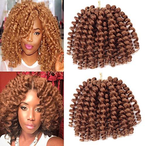Crochet Braids Hair 2X Ringlet Wand Curl 3 Packs 8 inch Jamaican Bounce Havana Mambo Twist Braiding Hair (Brown) -