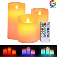 "Flameless Candles Battery Operated Pillar Real Wax Flickering Moving Wick Electric LED Candle Sets with Remote Control Cycling 24 Hours Timer, 4"" 5"" 6"" Pack of 3 (Multi-Colored)"