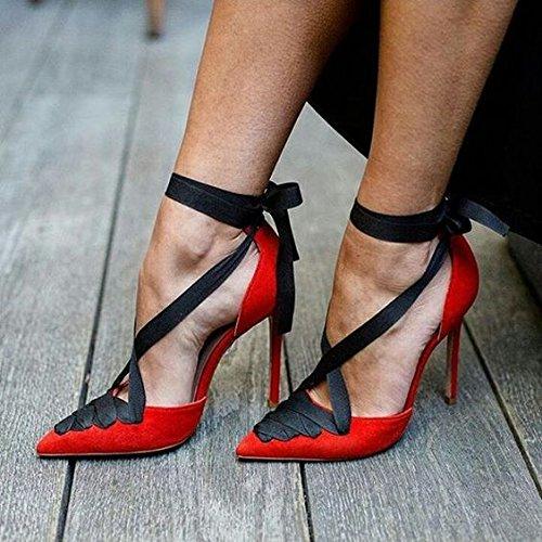 Tacones de moda color de gamuza puntas zapatos de tacón alto son poco profundas talones Boca Band gules