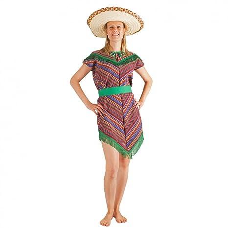 Krause & Sohn Disfraz de Mexicana S- XL Vestido de Poncho Mexicano ...