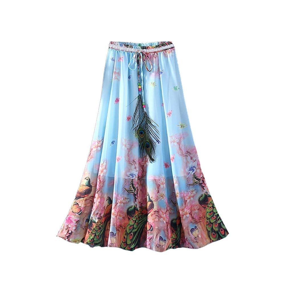 Eleter Girl's Beautiful Flowy Summer Chiffon Long Maxi Skirt (Light Blue)