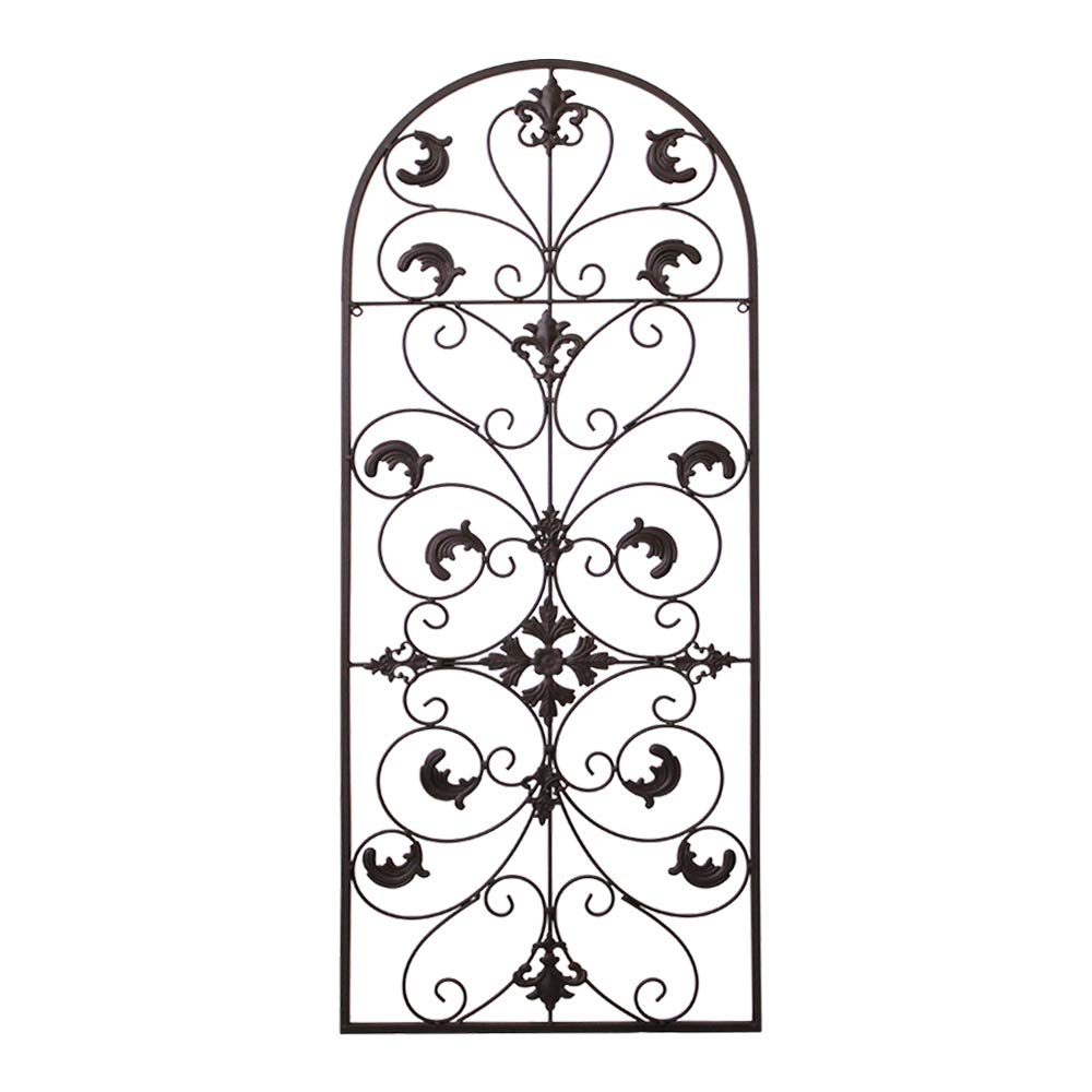 gbHome GH-6777BRN Metal Wall Decor, Decorative Victorian Style Hanging Art, Steel Décor, Window Arch Design, 16.5 x 41.5 Inches, Espresso Brown