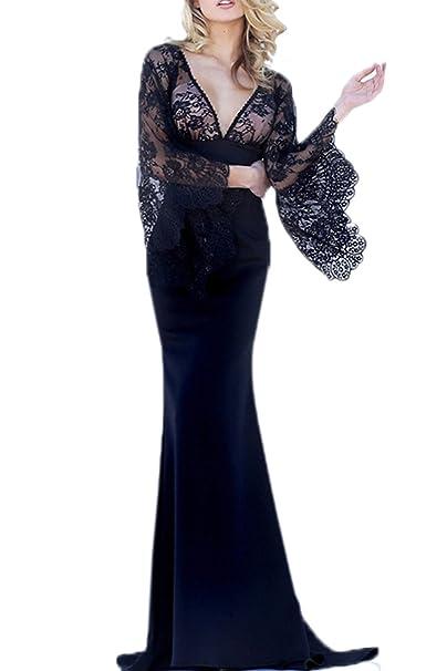 186cfacfea2 Women Long Lace Prom Dresses V Neck Maxi Mermaid Evening Cocktail Dress  Black XS