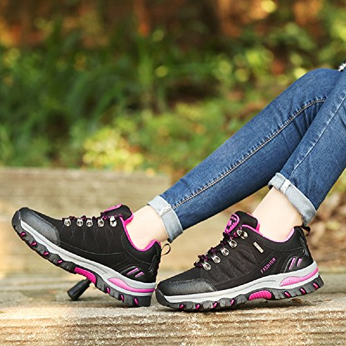 Mens Outdoor Womens 3 Black 10 UK Mountain Trainers Size NEOKER Hiking Sneakers Trekking Driving Shoes pink Ladies Walking dYwvxqf4