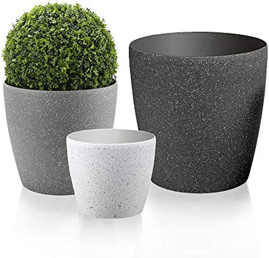 Worth Garden Luxury Set of 3 Resin Planter Multi-Color Large Flower Pots Outdoor & Indoor with Drain Hole Planter for Plants Garden Patio Deck Light & Unbreakable Large Medium Small 3-Year Warranty