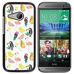 Be Good Phone Accessory // Dura Cáscara cubierta Protectora Caso Carcasa Funda de Protección para HTC ONE MINI 2 / M8 MINI // Watermelon Flamingo Parrot Pattern White