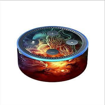 Skin Decal Vinyl Wrap for Amazon Echo Dot 2 (2nd generation) / Dragons  Fireball Magic