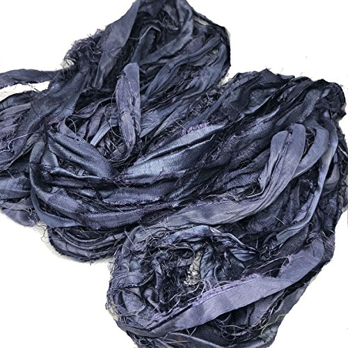 KnitSilk Brand - Super Bulky Recycled Sari Silk Ribbon Yarn in Charcoal Grey - Gray Ribbon | 50 GMS - 30 Yards | Duppioni Silk Ribbon (Pack of 3)