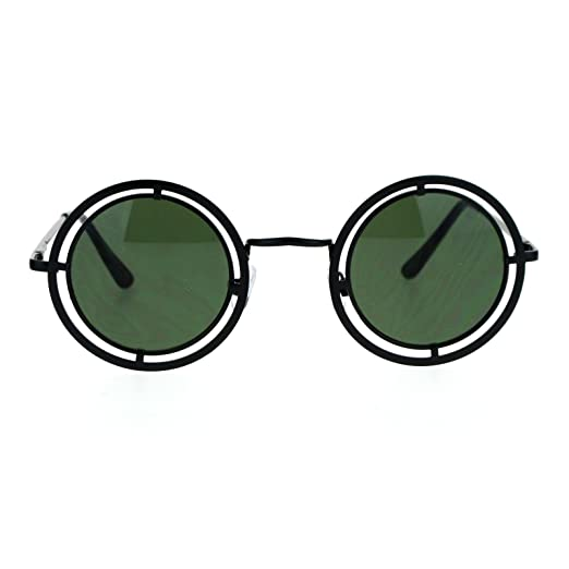 e1162088436 SA106 Victorian Steam Punk Double Frame Round Circle Lens Sunglasses Black  Green