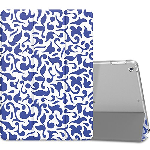 MoKo Case Fit iPad 9.7 2018/2017 - Slim Lightweight Smart Shell Stand Cover with Translucent Frosted Back Protector Fit Apple iPad 9.7 Inch (iPad 5, iPad 6), Blue & White Porcelain(Auto Wake/Sleep)