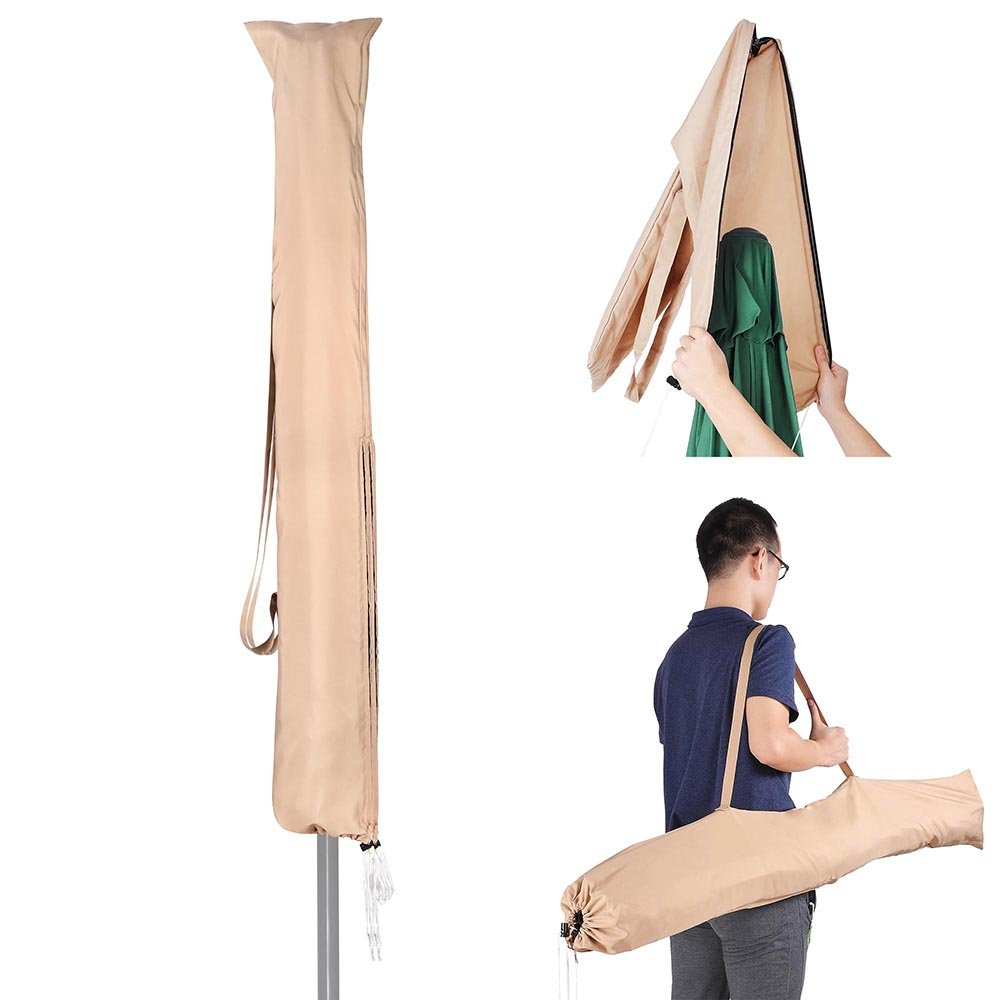 Yescom Portable Patio Umbrella Protective Cover Carry Bag Sew-in Wands Quick Removal Water Resistant Polyester 8ft