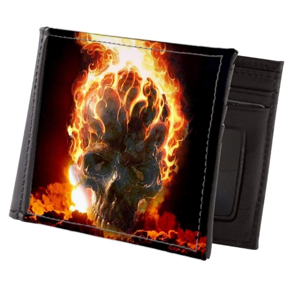Royal Lion Mens Wallet Billfold Flaming Skull