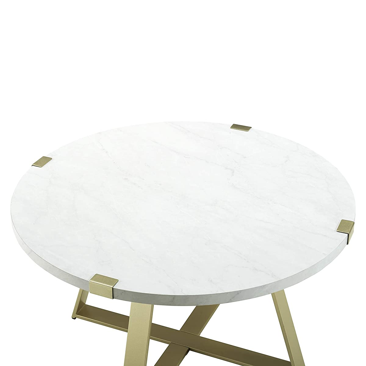 WE Furniture AZF30MWCTMG Coffee Table White Faux Marble/Gold
